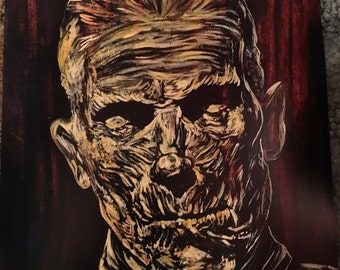 Karloff The Mummy print from original Mad Monster Lady painting signed Horror universal monsters art