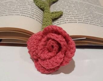 Bookmark, pink flower bookmark, Handmade Crochet Flower bookmark.