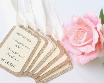 Wedding favor tags -Wedding Tags -Wedding favor signs -Happily Ever After Tags -Fairy tale wedding -Champagne Bottle Tags -Glitter Favor Tag