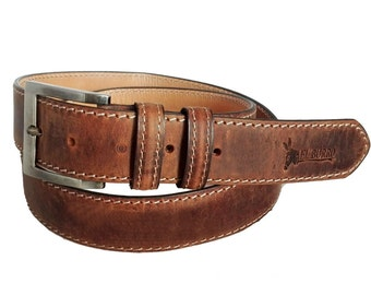 EL BURRO texas leather belt leather belt Brown 85-115 cm waist jeans belt 4 cm cowhide leather cowboy belt country belt brown