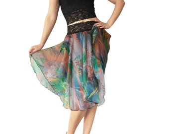 Green-Orange Abstract Chiffon Circle Tango Skirt