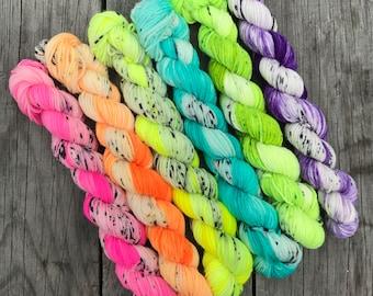 Mini Set- More Than Monochrome Brights- Superwash Merino and Nylon Nomad sock yarn