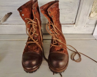 "Vintage Leather boots,WOMEN boots ""DESTROY"""",    Hipster boots"