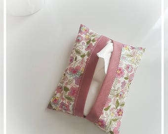 Liberty fabric tissue pouch pink