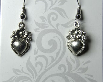 Heart and Flower Dangle Earrings Heart and Flower Jewelry Heart and FlowerCharms  Earrings Silver Plated Fish Hooks Nickle and Lead Free