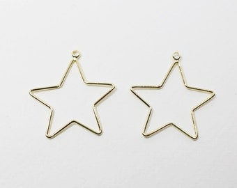 P0590/Anti-Tarnished Gold Plating Over Brass/Stubby Star Pendant Large/23x25mm/4pcs