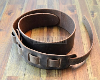 Genuine Leather Guitar Strap - Distressed Buffalo Leather - Brown
