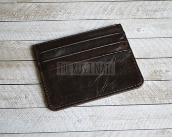 FREE SHIPPING - Genuine Leather Slim Credit Card Wallet - Vintage Dark Brown