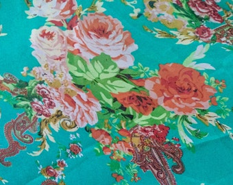 Scarf shawl wrap sarong cover up Fichu floral flowers green yellow Peach red multi wedding birthday anniversary party holiday gift