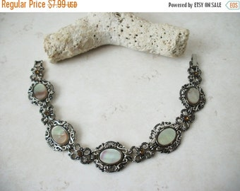 ON SALE Vintage 1950s Silver Mother Of Pearls Inlaid Bracelet 12417