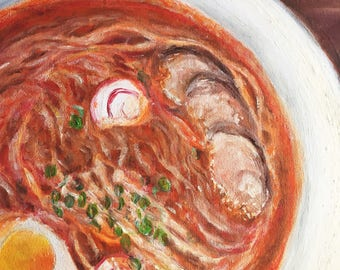 Acrylic & Oil painting  Canvas painting  Food painting  Ramen noodles  Original painting