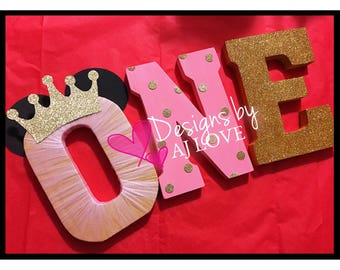 Princess Minnie Gold and Pink First Birthday//ONE//Minnie Theme//CROWN