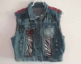 Red Cheetah Punk Denim Vest Jacket
