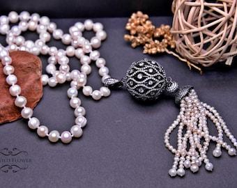 Pearl Necklace, Freshwater Pearl Necklace, Freshwater Pearl Jewelry, Fancy Necklace, Statement Necklace, Tassel Necklace