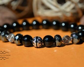 Men's Bracelet, Boyfriend Bracelet, Black Onyx Bracelet, Gemstone Bracelet, Stacking Bracelet, Mala Bracelet, Fancy Bracelet