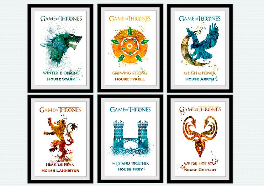 jeu des tr nes affiche aquarelle set de 6 maisons de westeros. Black Bedroom Furniture Sets. Home Design Ideas