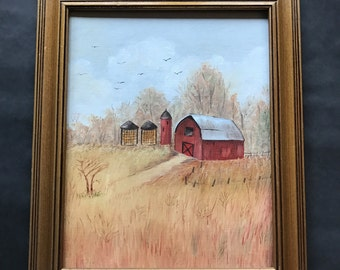 Farm painting, Barn painting, oil painting, rural painting, farmhouse style, vintage painting, red barn