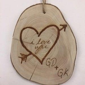 i love you tree slice plaque etsy sale