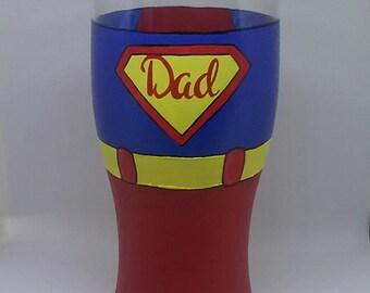 Superdad - Supermum handpainted glasses - Pint Glass & Wine Glasses
