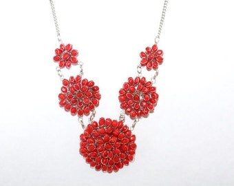red necklace, bead necklace, floral necklace, flower necklace,  bead necklaces, statement necklace,  red bead necklace, gift for her ,