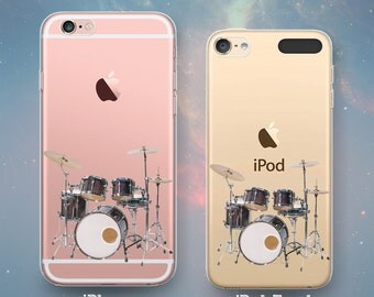 Drum Set with Cymbals 5-Piece Drums Drummer Music Musician Rock Percussion Clear Rubber Case for iPhone 7 6s 6 Plus SE 5s 5 5c iPod Touch