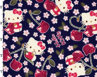Kokka Sanrio Hello Kitty Cherry Land | 8032-001-C Navy | By the yard