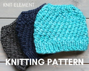 Knitting Pattern, Messy Bun Hat Knit Pattern, Knit Ponytail Hat Pattern, Running Headband Pattern, Running Hat Pattern, Bun Beanie Pattern