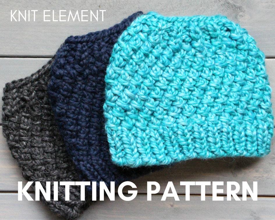 Knitting Pattern Messy Bun Hat Knit Pattern Knit Ponytail