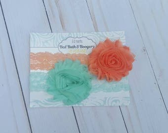 Peach and Aqua flower lace Headbands- set of 2, baby headband, flower head band, baby hair accessories, baby shower gift, baby hairbands