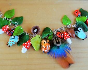 polymer clay owl bracelet clay berries owl jewelry