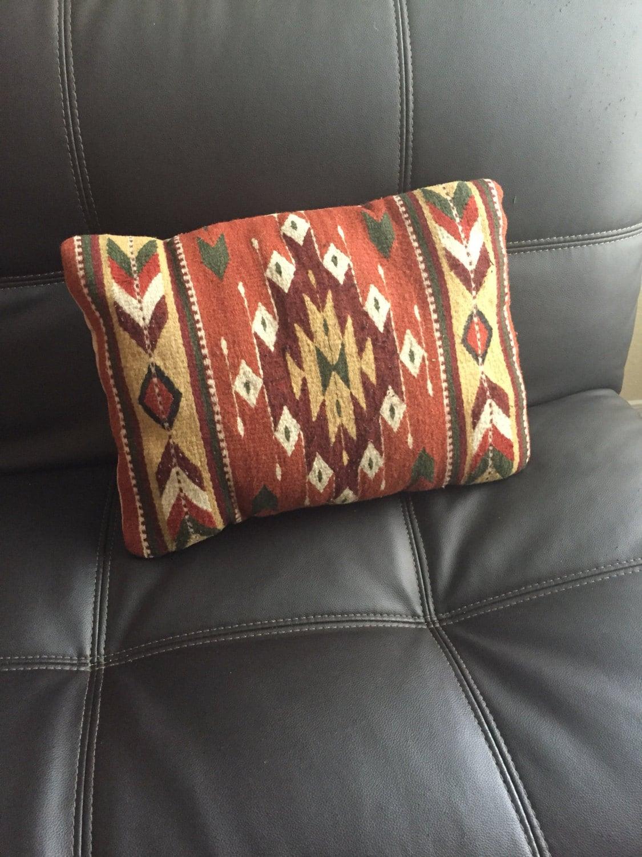 Zapotec Throw Pillows : Zapotec pillow Mexican woven wool pillow diamond design