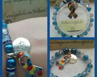 AUTISM AWARENESS Handstamped Tag | Elasticated Bracelet | Handmade