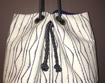 Navy and White Zig Zag Squash Blossom Bag