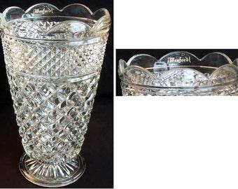 Anchor Hocking Wexford.  10-inch Glass Vase.  Original Sticker.  Circa 1962-1998.