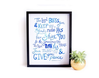 Bible Verse Art Print - Lord Bless You and Keep You - Wall Art, Wedding Gift, Graduation, Housewarming