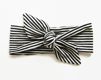 Top Knot Headband, Baby Headband, Baby Shower Gift, Toddler Headband, Baby Head Wrap, Monochrome Baby, Striped Headband, Knotted Headband