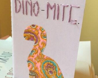 Small Purple Hand Embroidered Dinosaur Journal