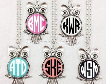 Monogrammed owl necklaces