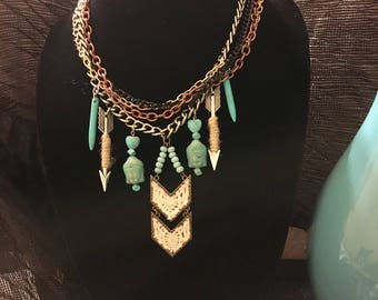 Boho Tribal Bohemian Statement Necklace