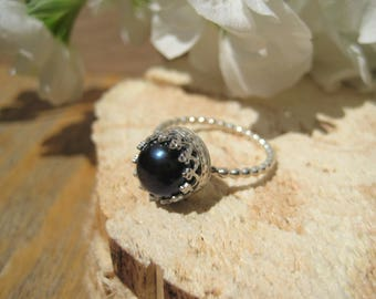 Mermaid Black Pearl and Sterling Silver Filigree Statement Ring