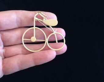 Vintage Tan Enameled Bike Pin/Pendant