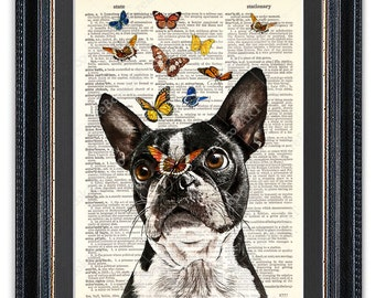 Boston Terrier With Butterflies, Dictionary Art Print, Boston Terrier Art Print, Boston Terrier Art, Boston Terrier Poster