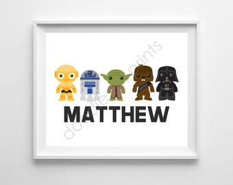 Star Wars Art Print, Personalized Name Printable Digital, Vader Yoda R2D2 C3PO Art Decor, Nursery Wall Art, Star Wars Nursery, Boys Room
