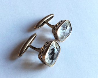 Cufflinks Antique RUSSIAN gold plated sterling SILVER 875 genuine rock crysta