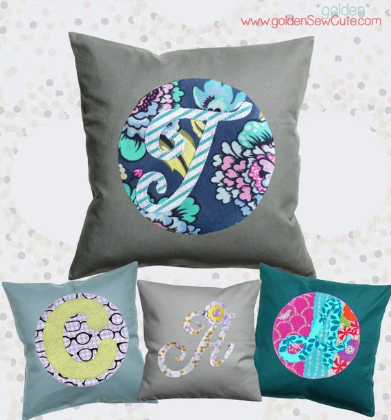 CYBER MONDAY SALE!  Applique Pillow Cover, Throw Pillow Pillowcase, Custom, Personalized, Initial, Circle, Flower