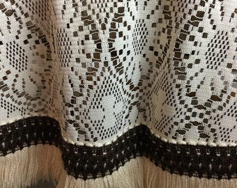 Round Lace Tablecloth with Fringe Trim, 1970s