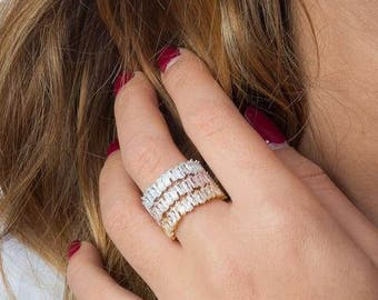 Silver Baguette Ring   Rose Gold Baguette Ring   Gold Baguette Ring   Crystal Ring   Cubic Zirconia Ring   Eternity Ring   Eternity Band