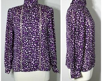 Vintage 80s Nicola Purple Print Secretary Blouse Mock Neck Shirt Made in USA Size 10