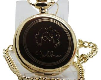 John Lennon Signed  Gold Pocket Watch Custom Engraved Back  Wooden Gift Case Case Beatles memorabilia Free engraving music Imagine fans