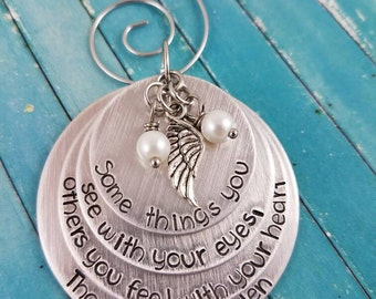 Memorial Ornament, Angel Wing, Angel Ornament, Heaven Ornament, First Christmas in Heaven Ornament, Lost Loved One Ornament, Christmas
